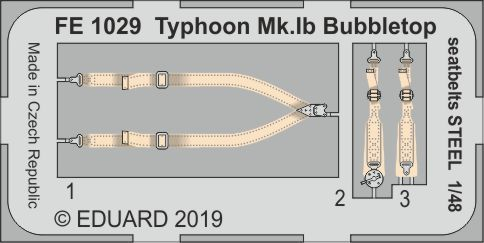 Eduard 1/48 Hawker Typhoon Mk.Ib Bubbletop Seatbelts STEEL Zoom Set # FE1029