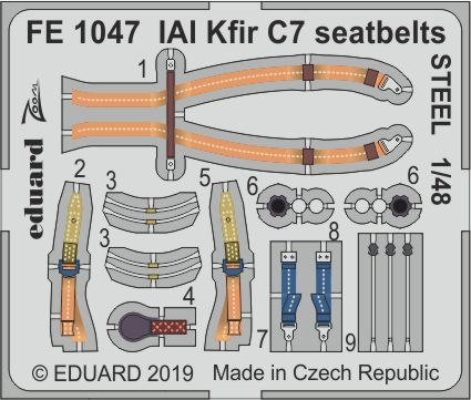 Eduard 1/48 IAI C-2/C-7 Kfir Seatbelts STEEL Zoom Set # FE1047