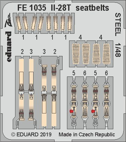 Eduard 1/48 Ilyushin Il-28T Beagle Seatbelts STEEL Zoom Set # FE1035