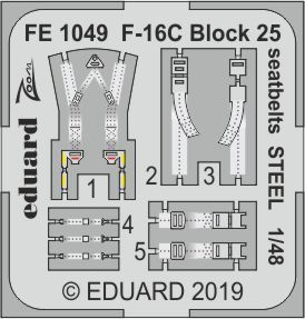 Eduard 1/48 Lockheed-Martin F-16C Block 25 Seatbelts STEEL Zoom Set # FE1049