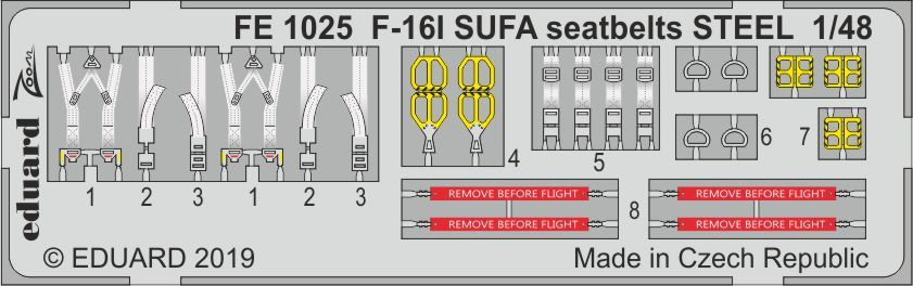 Eduard 1/48 Lockheed-Martin F-16I SUFA Seatbelts STEEL Zoom Set # FE1025