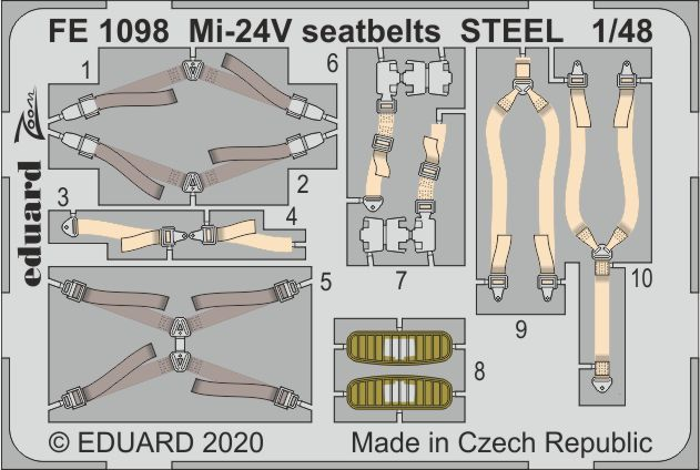 Eduard 1/48 Mil Mi-24V/VP Seatbelts STEEL Zoom Set # FE1098
