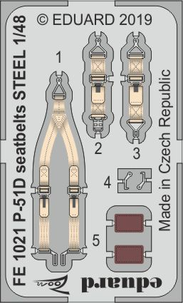 Eduard 1/48 North-American P-51D Mustang Seatbelts STEEL Zoom Set # FE1021