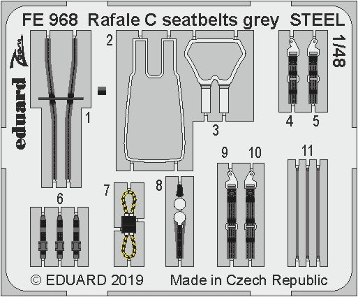 Eduard 1/48 Renault Rafale C Seatbelts Grey STEEL # FE968