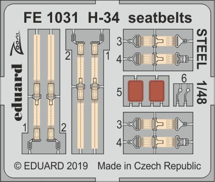 Eduard 1/48 Sikorsky H-34 Seatbelts STEEL Zoom Set # FE1031