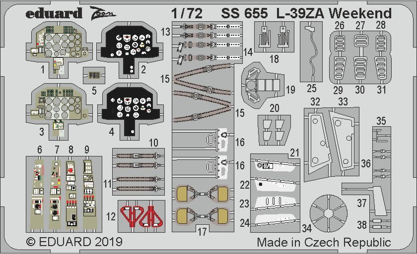 Eduard 1/72 Aero L-39ZA Weekend Detailing Set # SS655