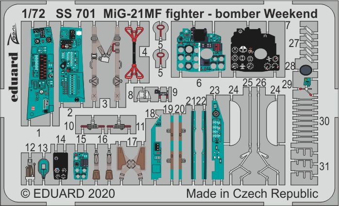Eduard 1/72 Mikoyan MiG-21MF Fighter-Bomber Weekend Zoom Set # SS701