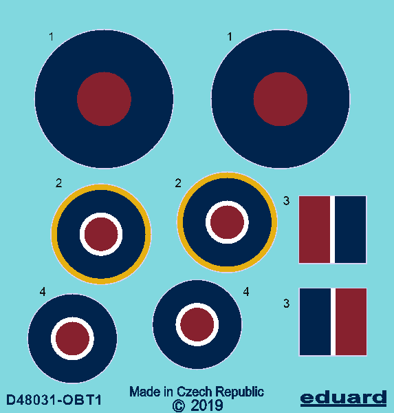 Eduard Decals 1/48 Hawker Tempest Mk.V Roundels Early # D48031