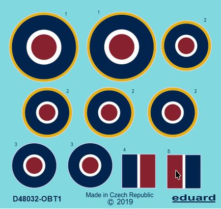 Eduard Decals 1/48 Hawker Tempest Mk.V Roundels Late # D48032
