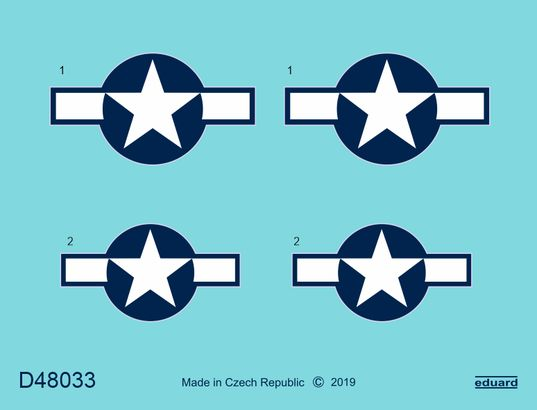 Eduard Decals 1/48 North-American P-51D-5 Mustang National Insignia # D48033