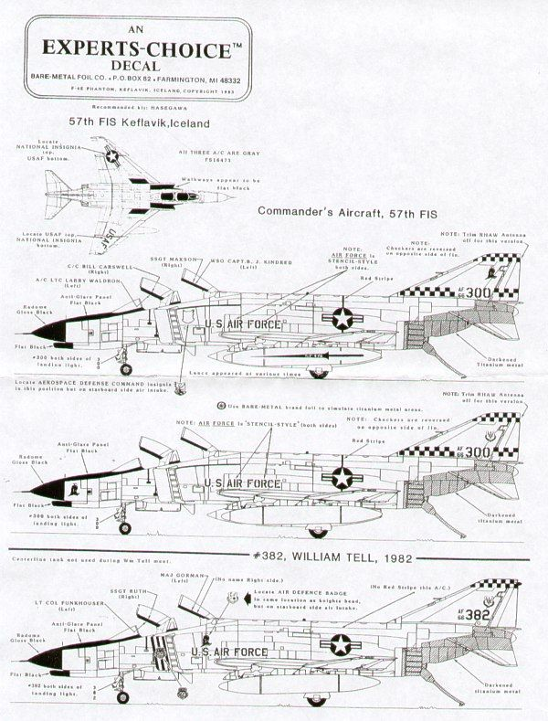Experts Choice 1/48 McDonnell F-4E Phantom 57FIS Keflavik 1982 # 4803