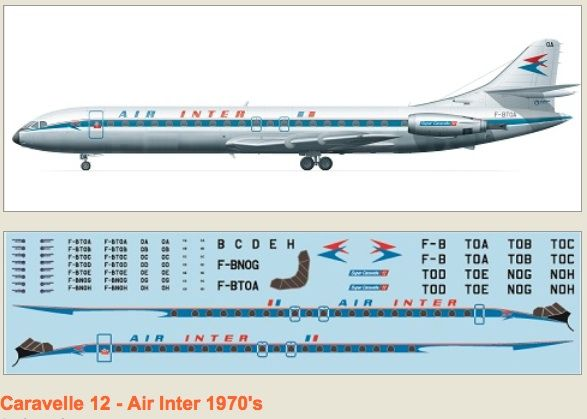 F-rsin 1/144 Caravelle 12 Air Inter 70's # 4069