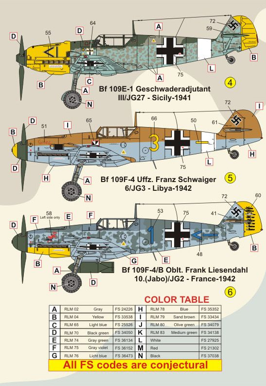 FCM Decals 1/32 Messerschmitt Bf-109E/F/G # 32024