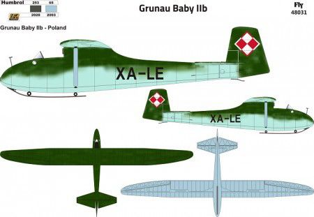 Fly 1/48 Grunau Baby IIB Decals Poland # 48031