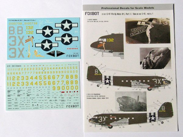Foxbot Decals 1/72 Pin-Up Nose Art Douglas C-47 and Stencils Part 1 # FBOT72017