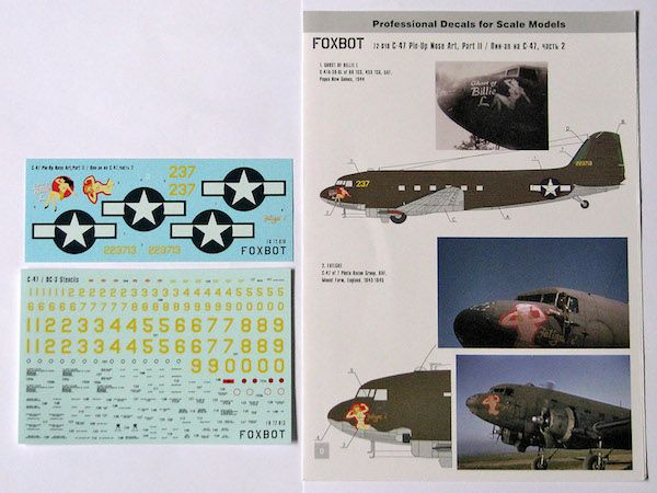 Foxbot Decals 1/72 Pin-Up Nose Art Douglas C-47 and Stencils Part 2 # FBOT72018