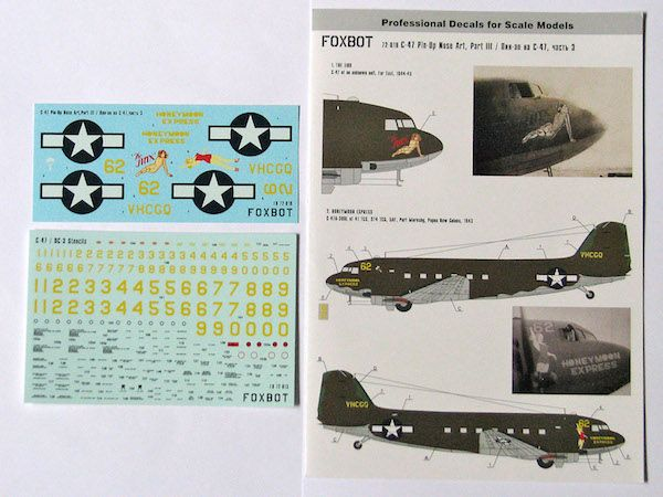 Foxbot Decals 1/72 Pin-Up Nose Art Douglas C-47 and Stencils Part 3 # FBOT72019