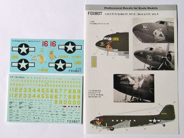 Foxbot Decals 1/72 Pin-Up Nose Art Douglas C-47 and Stencils Part 4  # FBOT72020