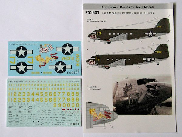 Foxbot Decals 1/72 Pin-Up Nose Art Douglas C-47 and Stencils Part 5 # FBOT72021