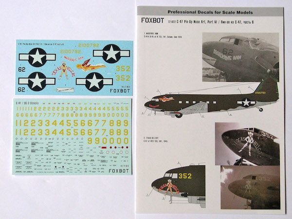 Foxbot Decals 1/72 Pin-Up Nose Art Douglas C-47 and Stencils, Part 6 # FBOT72022
