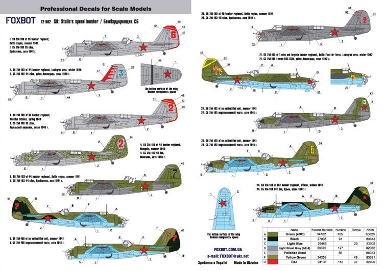 Foxbot Decals 1/72 Tupolev SB-2M-100 Stalin's Speed Bomber # FBOT72002