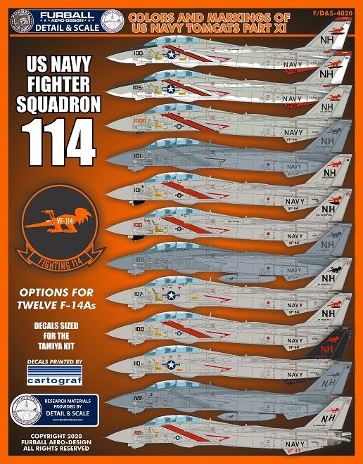 Furball Aero-Design 1/48 Colors and Markings of US Navy Grumman F-14s Part XI # S4820