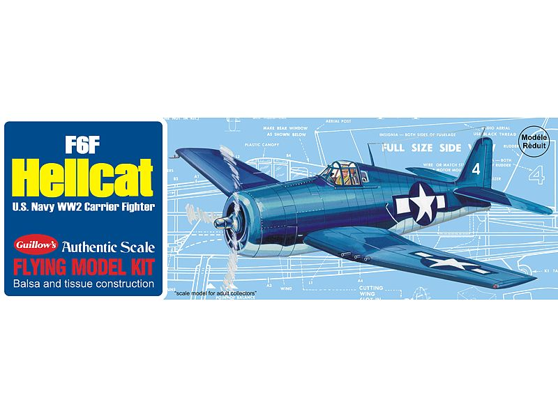 Guillows 1/30 F6F Hellcat U.S. Navy WWII Carrier Fighter Balsa Kit # 503