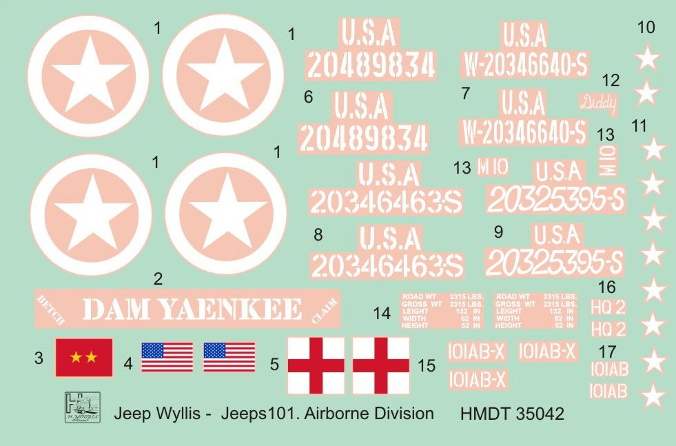 H-Model Decals 1/35 Willys Jeep MB/Ford GPW: 101st Airborne Division # 35042
