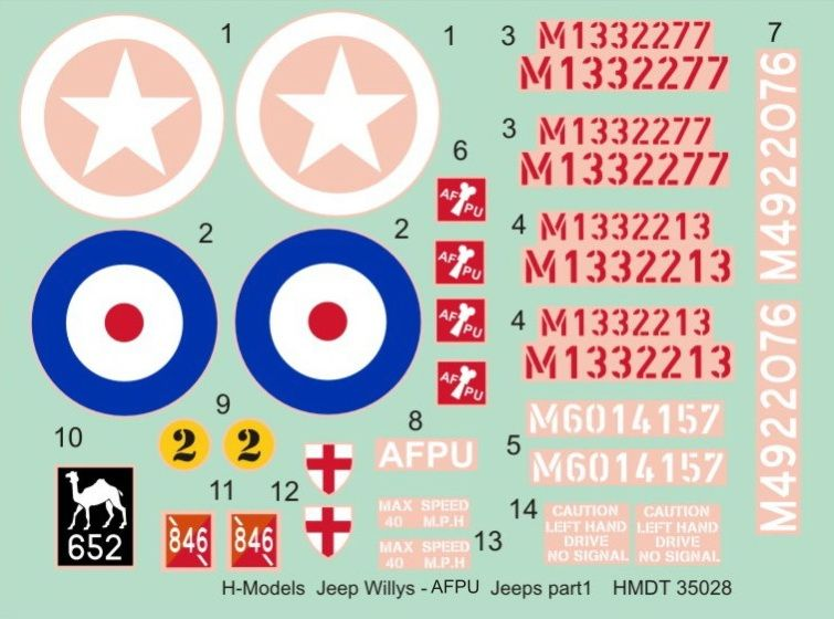 H-Model Decals 1/35 Willys Jeep MB/Ford GPW: AFPU Jeeps # 35028