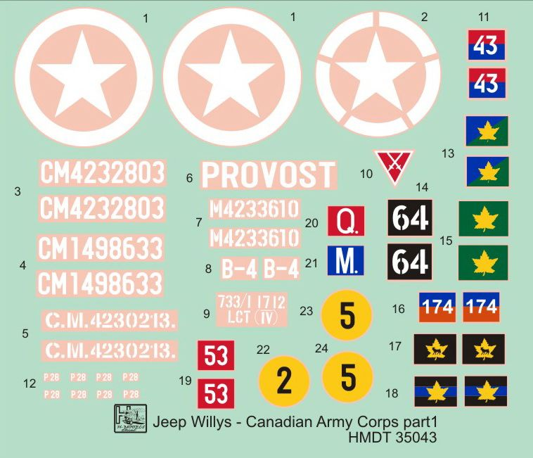 H-Model Decals 1/35 Willys Jeep MB/Ford GPW: Canadian Army Corps # 35043