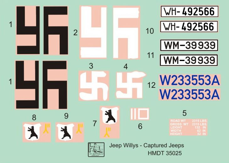 H-Model Decals 1/35 Willys Jeep MB/Ford GPW: Captured Jeeps # 35025