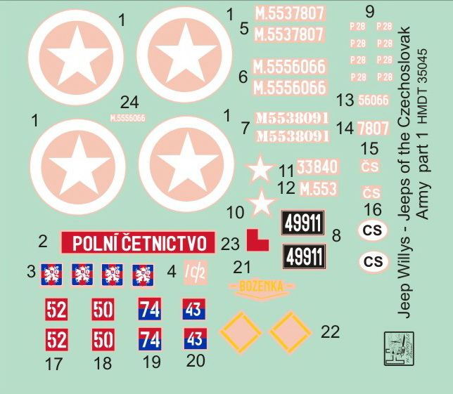 H-Model Decals 1/35 Willys Jeep MB/Ford GPW: Czechoslovak Army Jeeps Part 1 # 35045
