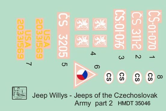 H-Model Decals 1/35 Willys Jeep MB/Ford GPW: Czechoslovak Army Jeeps Part 2 # 35046