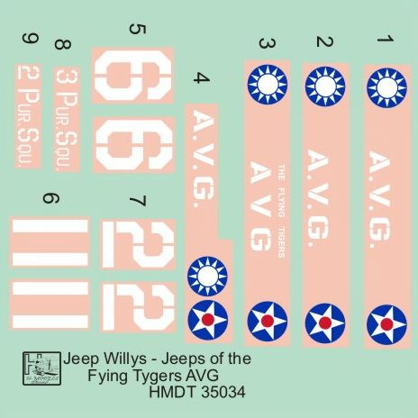 H-Model Decals 1/35 Willys Jeep MB/Ford GPW: Flying Tigers' Jeeps # 35034