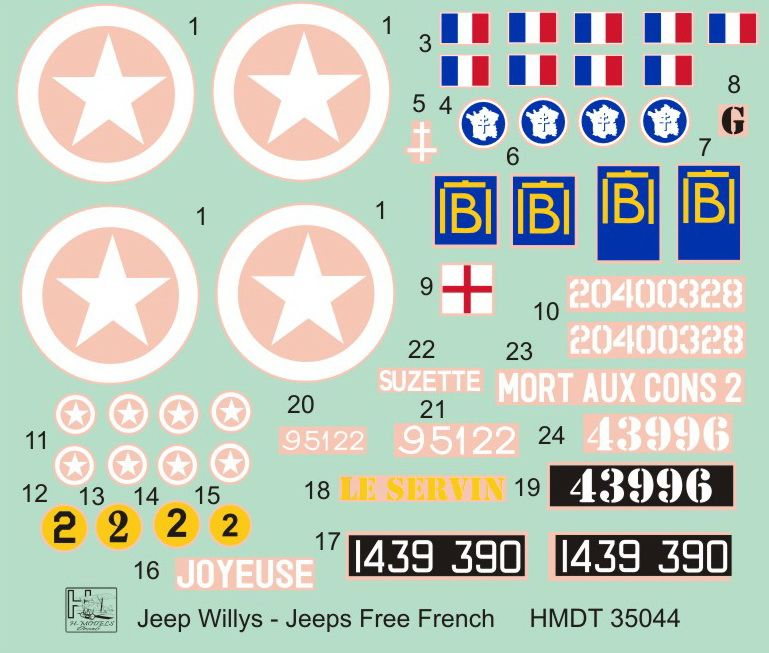 H-Model Decals 1/35 Willys Jeep MB/Ford GPW: Free French Jeeps # 35044