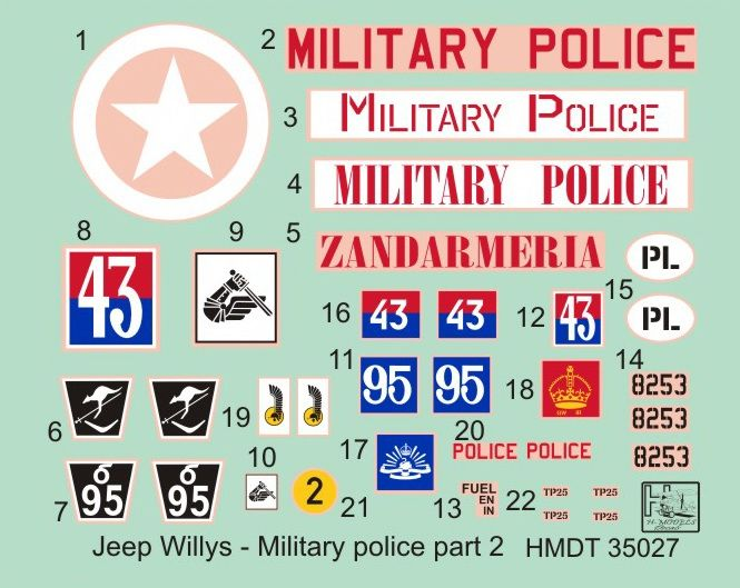 H-Model Decals 1/35 Willys Jeep MB/Ford GPW: Military Police Part 2 # 35027