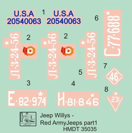 H-Model Decals 1/35 Willys Jeep MB/Ford GPW: Red Army Part 1 # 35035