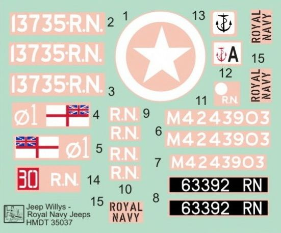 H-Model Decals 1/35 Willys Jeep MB/Ford GPW: Royal Navy Jeeps # 35037
