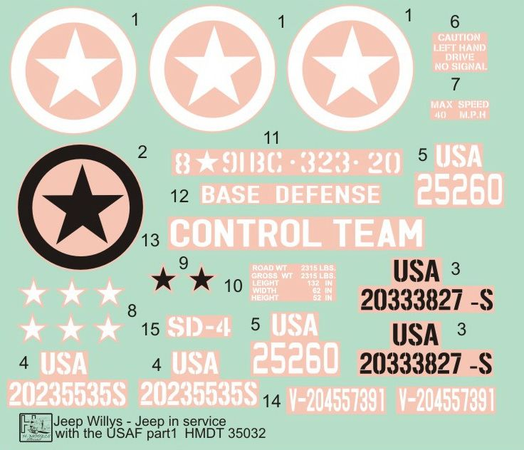 H-Model Decals 1/35 Willys Jeep MB/Ford GPW: USAAF Jeeps # 35032