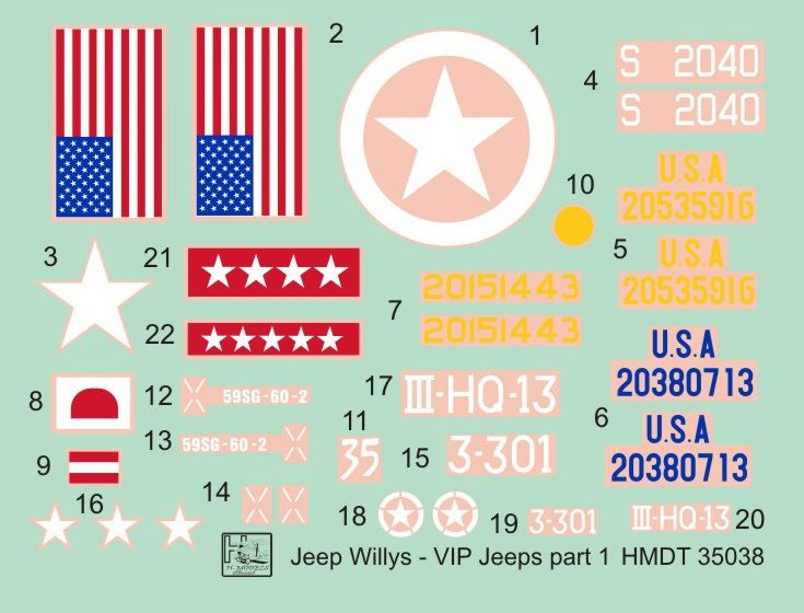 H-Model Decals 1/35 Willys Jeep MB/Ford GPW: VIP Jeeps Part 1 # 35038