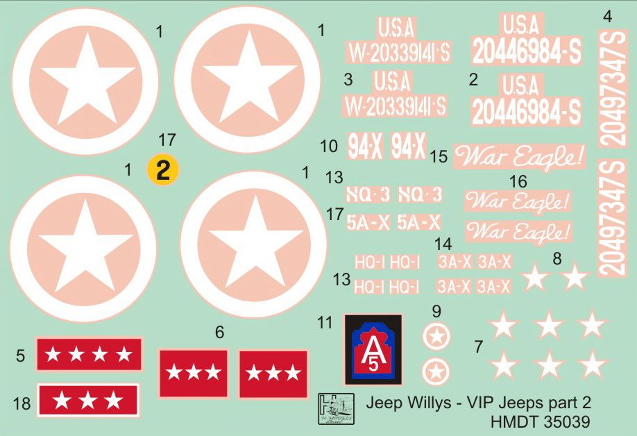 H-Model Decals 1/35 Willys Jeep MB/Ford GPW: VIP Jeeps Part 2 # 35039