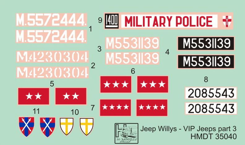 H-Model Decals 1/35 Willys Jeep MB/Ford GPW: VIP Jeeps Part 3 # 35040