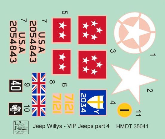 H-Model Decals 1/35 Willys Jeep MB/Ford GPW: VIP Jeeps Part 4 # 35041