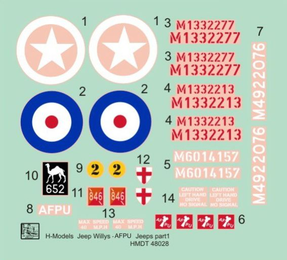 H-Model Decals 1/48 Willys Jeep MB/Ford GPW: AFPU Jeeps # 48028