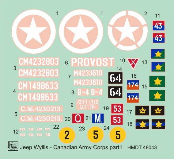 H-Model Decals 1/48 Willys Jeep MB/Ford GPW: Canadian Army Corps # 48043