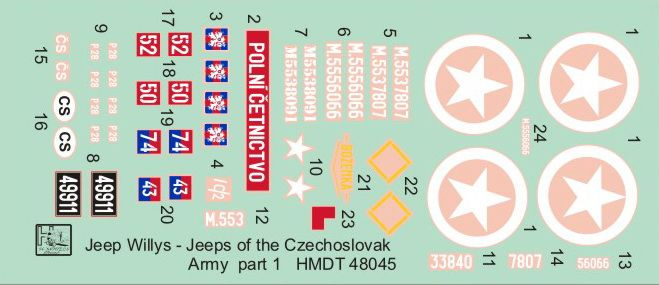 H-Model Decals 1/48 Willys Jeep MB/Ford GPW: Czechoslovak Army Jeeps Part 1 # 48045