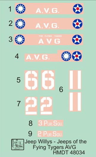 H-Model Decals 1/48 Willys Jeep MB/Ford GPW: Flying Tigers' Jeeps # 48034