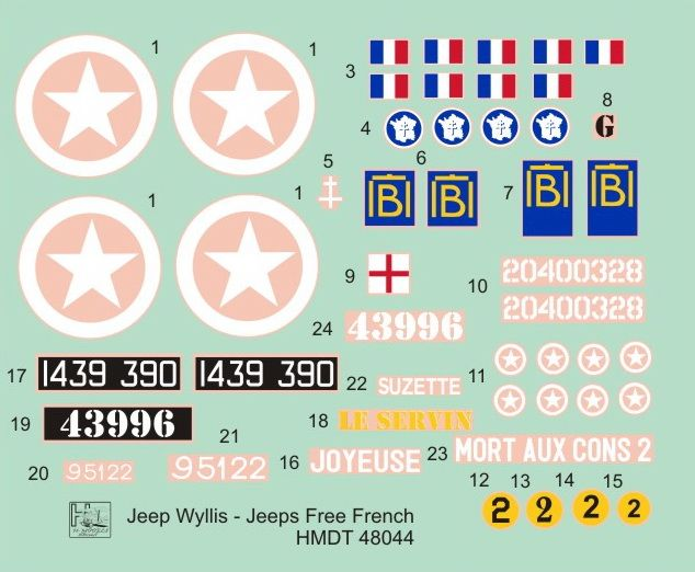 H-Model Decals 1/48 Willys Jeep MB/Ford GPW: Free French Jeeps # 48044