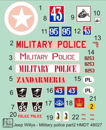 H-Model Decals 1/48 Willys Jeep MB/Ford GPW: Military Police Part 2 # 48027