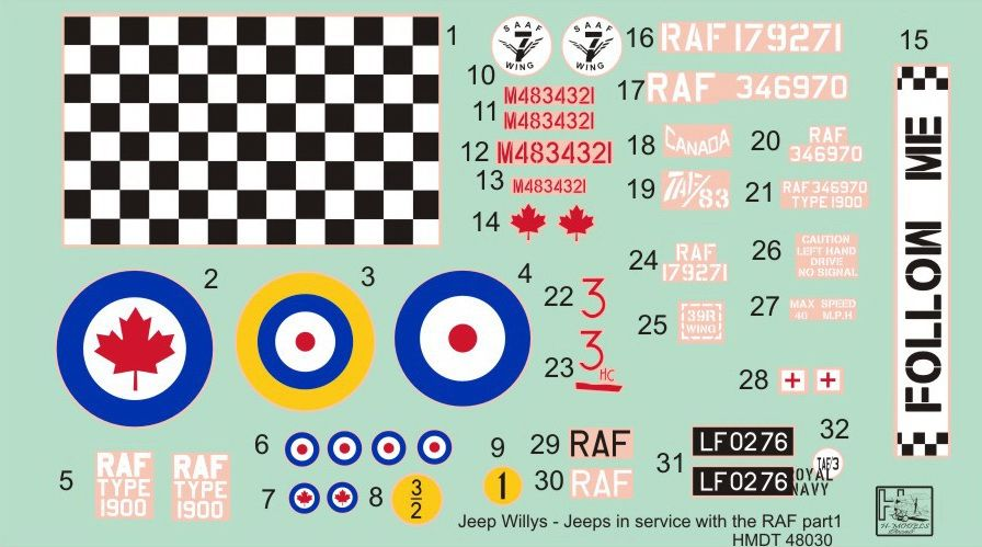 H-Model Decals 1/48 Willys Jeep MB/Ford GPW: RAF Jeeps Part 1 # 48030